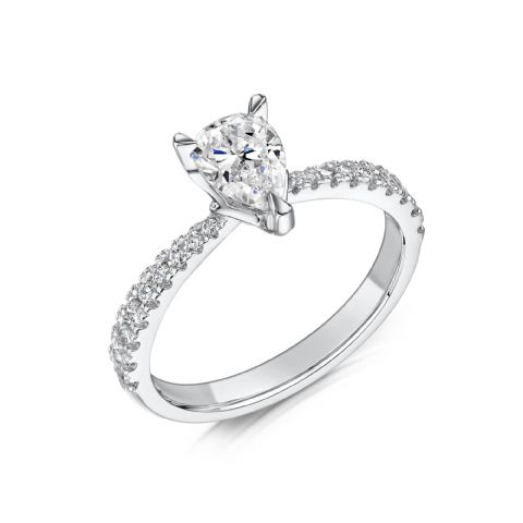0.7 Carat GIA GVS Diamond solitaire 18ct White Gold. Pear shaped Engagement Ring, MWSS-1201/050